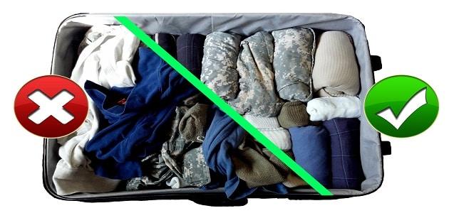 الطريقة الصحيحة لترتيب الملابس داخل حقيبة السفر