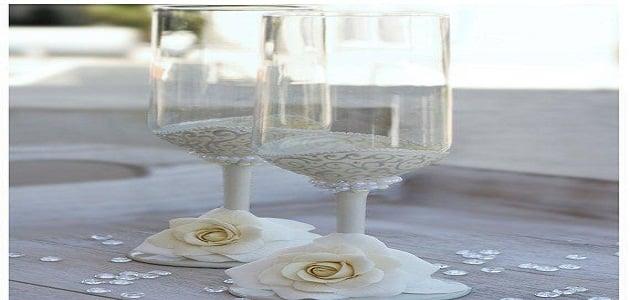 طريقة تزيين الكاسات بالخرز والتل والورد للمناسبات
