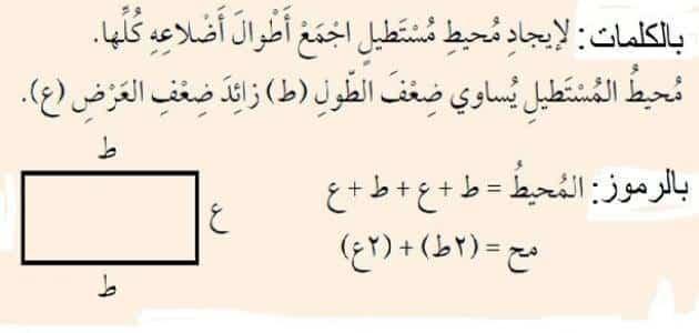 قانون مساحة المستطيل ومحيطه بالتفصيل