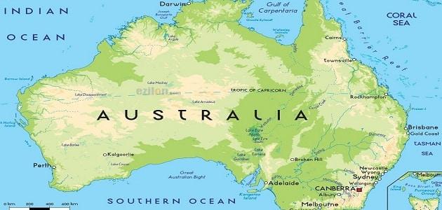 اين تقع عاصمة تسمانيا على الخريطة