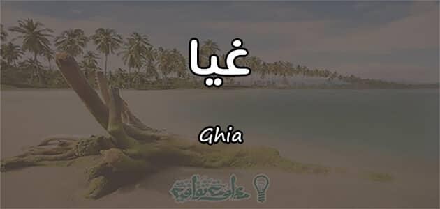 معنى اسم غيا Ghia وصفات حامله الاسم
