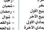 شهور السنة الميلادية باللغة العربية